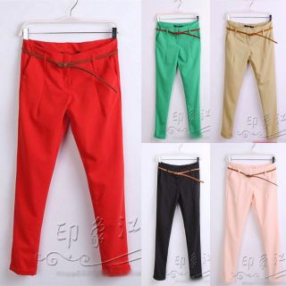 Girls Casual Candy Color Skinny Slim Belted Pants Trousers LJE