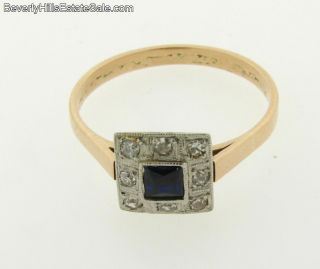 Antique Art Deco Diamonds Sapphire 14k Ring