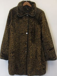 Dennis Basso Sz 1X Leopard Print Faux Fur Coat w/ Faux Leather Trim