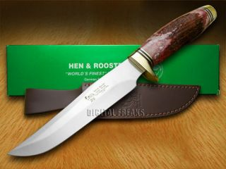 HEN & ROOSTER AND Genuine Red Deer Stag 1/200 Fixed Blade Pocket Knife