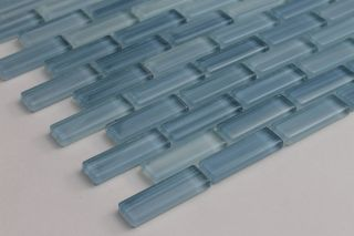 Light Blue Hand Painted Glass Subway Mosaic Tile Kitchen Bathroom