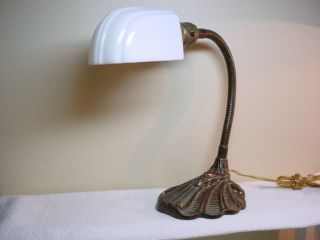 VINTAGE INDUSTRIAL GOOSENECK DESK LAMP W/ ART DECO WHITE GLASS LIGHT