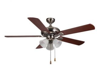 Hampton Bay Scottsdale 52 inch Ceiling Fan with Light Kit Brushed