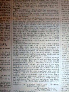 Newspaper Stonewall Jackson Dead w Long Detailed Obituary