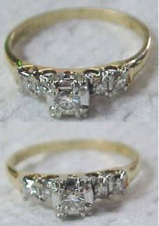 Vintage 14k Yellow Gold Keepsake Diamond Engagement Ring