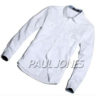 PJ High Quality Mens Premium Casual Dress Shirts Long Sleeve Slim Fit