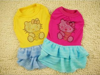 Dog Clothes Cotton Princess Rhinestone Kitty Dress Skirt Apparel XXS