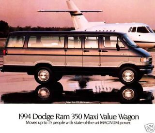1994 Dodge RAM 250 350 Maxi Wagon Brochure Maxi Wagon