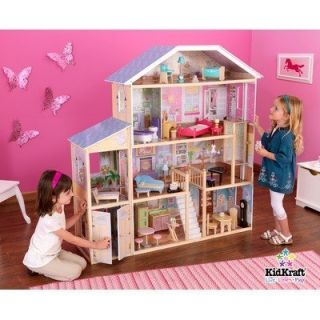 KidKraft Deluxe Pretend Play Dollhouse Girls Big Toy Doll House 34pc
