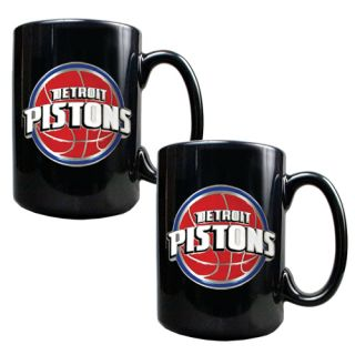 Set of 2 Detroit Pistons NBA Black Ceramic Coffee Mugs