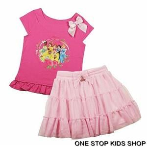 Disney Princess Girls 4 5 6 Set Outfit Shirt Skirt Ariel Belle Snow