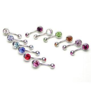PIECES NAVEL DOUBLE GEM MULTI COLORS BELLY BUTTON RINGS+FREE RETAINER