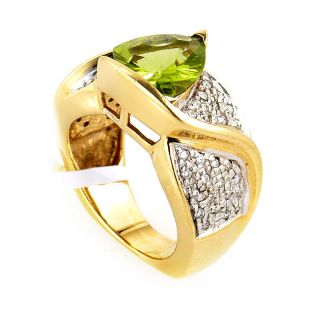 14k Yellow Gold Diamonds Peridot Ring