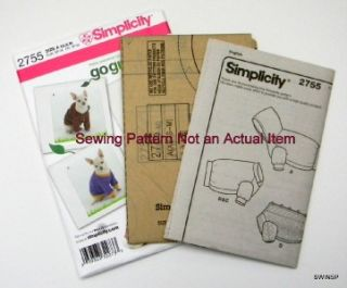 Sewing Pattern Simplicity 2755 Dog Clothes Sweater Hoodie XS   Med Go