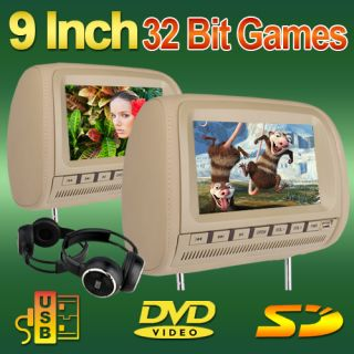 Beige Tan Dual 9 Headrests Car DVD Players Wide Screen Monitor IR