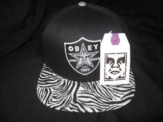 Raiders Custom Brim Zebra Print Snapback Hat Cap Supreme Don C