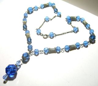 Vintage Art Deco Nouveau Czech Blue Glass Necklace