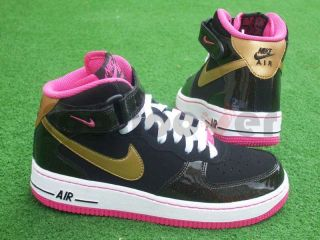 Scarpe Nike Air Force 1 One Mid Gs 518218 001 donna junior black