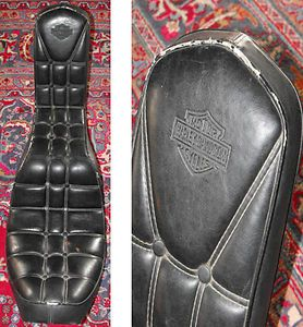 Vntg Black Leather HARLEY DAVIDSON Motorcycle Biker CHOPPER SEAT