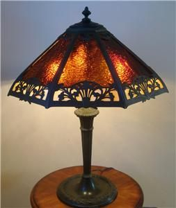 EDWARD MILLER arts & crafts SLAG Stained Glass LAMP Bungalow Mission