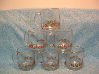 Holly Berry Ribbon Short Glass Mugs Red Green Gold Coffee Eggnog USA