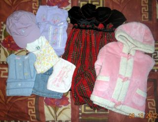 BABY GIRLS COAT, HAT, DRESS, SHORTS, AND BIB size 0 3, 6 9, 12 months