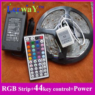 5M RGB Flex Waterproof LED Strip rope Light SMD 5050 44K Controller