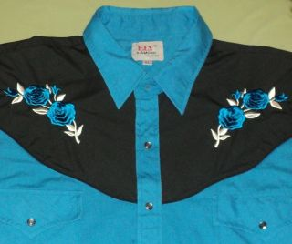 ELY DIAMOND COWBOY WESTERN SHIRT PEARL SNAP RODEO BULL RIDING L S MENS