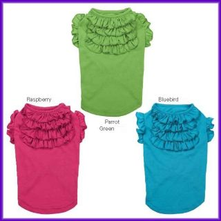 East Side Dog Puppy Tiered Ruffle Tank Tee Shirt Green Pink Blue s s M