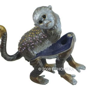 Capuchin Monkey Trinket Jewelry Box w Swarovski Crystals Bejeweled
