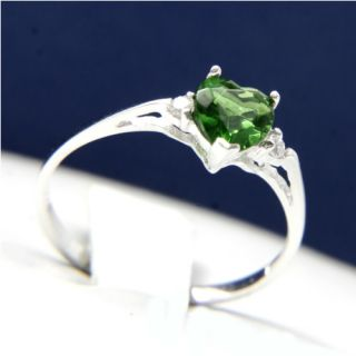 New 925 Sterling Silver Fashion Women Heart Cut Emerald CZ Ring