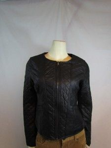Ellen Tracy Womens Black Quilted Leather Jacket Sz s M L