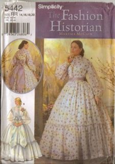 Simplicity Sewing Pattern Civil War Costume Fashion Historian Martha
