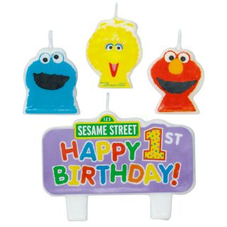 4pc Sesame Street Cake Candle Set Elmo 1st First Birthday Party