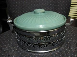 California Potteries Art Deco Blue Casserole with Pierced Stand Holder