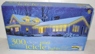 300 Clear Mini Icicle Lights Indoor Outdoor End To End Christmas