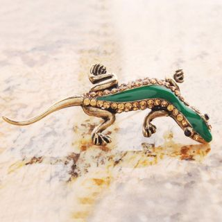 New Fashion Jewelry Enamel Topaz Crystal Pin Brooch Lizard Gold Plated