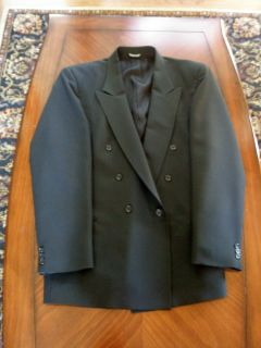 FALCONE Mens Black Suit Jacket Coat EUC Double Breasted 46 L
