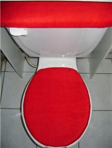 solid red fleece fabric toilet seat cover set