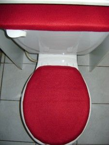 solid burgudy fleece fabric toilet seat cover set