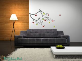 Fall Maple Branch Withs Bird Vinyl Wall Decor Stickers Decals 1232