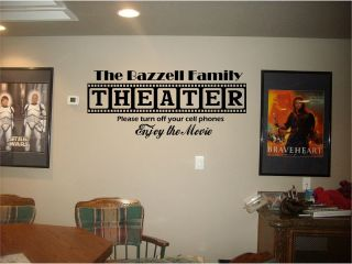 Home Theater Sign Personalized Family Name Vinyl Lettering Wall Art