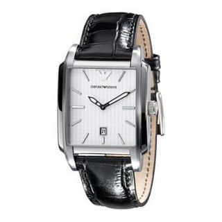 emporio armani classic black leather band mens watch ar0481