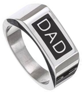 Dad Engraved High Polished Shiny Black Enamel Mens Stainless Steel