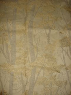 Designer Fairgrove Tree Forest Gold Gray Tan Latte Upholstery Fabric