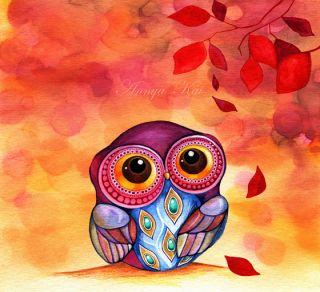 Jeweled Fashion Owl Fall Autumn Leaves Modern Wall Art Decor