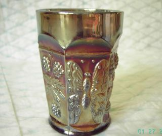 Old Fenton Butterfly & Berry carnival glass tumbler, pre 1926