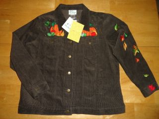 Quacker Factory Jacket Fall Autumn Beaded Corduroy L Pumpkin Leaves