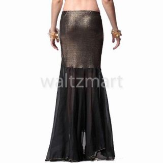 Dance Tribal Costume Sexy Fishtail Chiffon Practice Skirt Dress Black