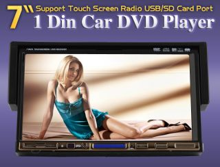 DIN 7 Flip Down in Car Radio Stereo DVD CD Player FM TV iPod